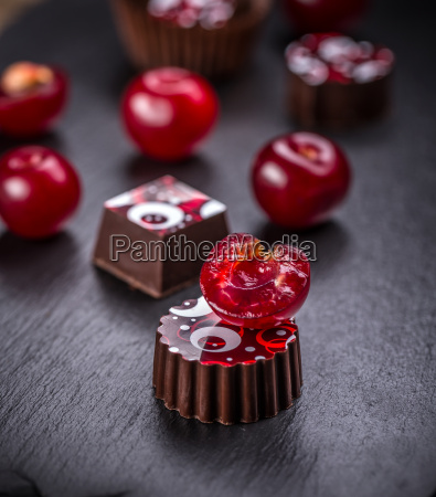 chocolate candy with cherry
