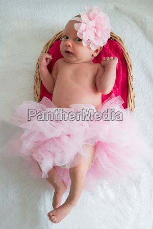 baby girl with pink tutu and