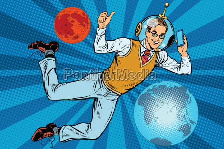 space businessman with smartphone over the
