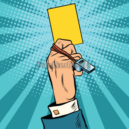 yellow card warning business concept