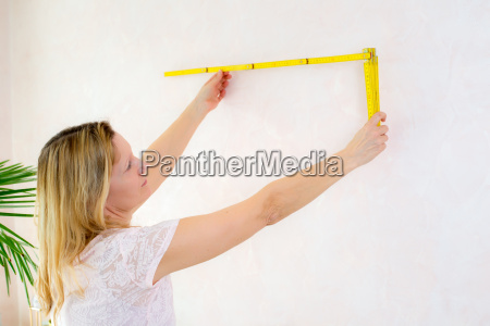 woman redecorate home and working with