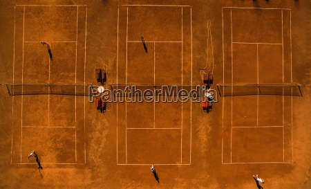 aerial shot of a tennis courts