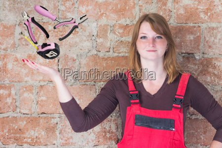 young woman with diy tools