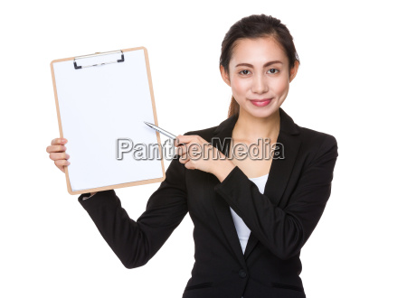 young businesswoman with pen point to
