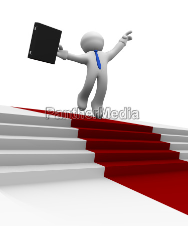 businessman jumping high on a red