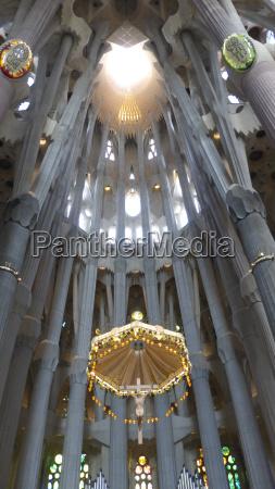 nave ceiling of gaudis sagrada familia