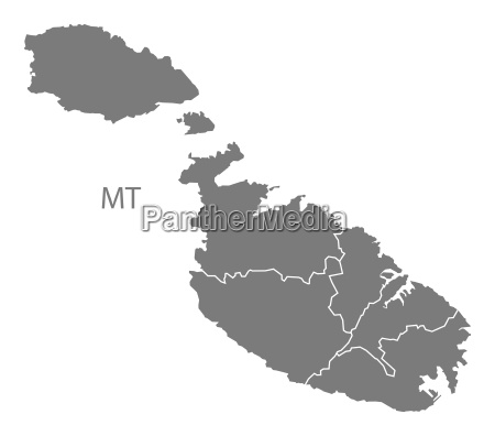 malta districts map grey