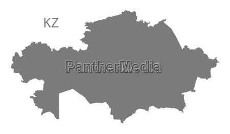 kazakhstan map grey