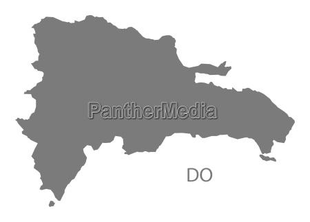 dominican republic map grey