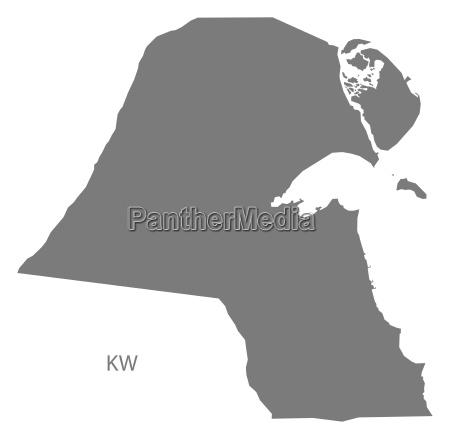 kuwait map grey