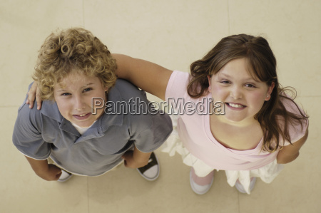 high angle view of brother and