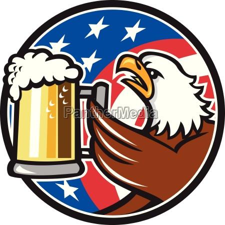 bald eagle hoisting beer stein usa