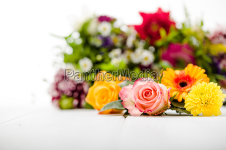 fragrant flowers on wood substrate