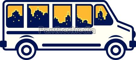 van city skyline retro