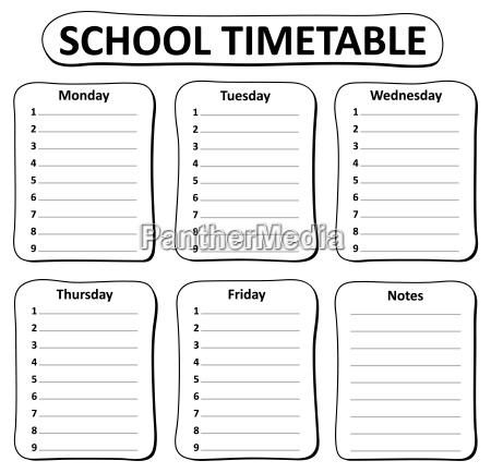 black and white school timetable theme