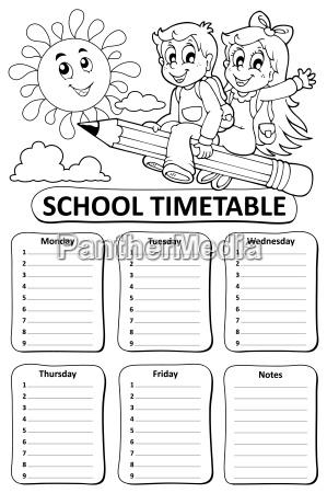 black and white school timetable theme