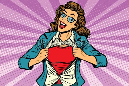 super hero woman ripping shirt