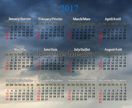 calendar for 2017 on the background