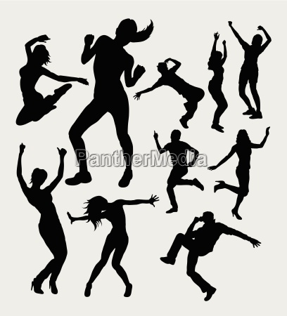 male and female dancing silhouettes