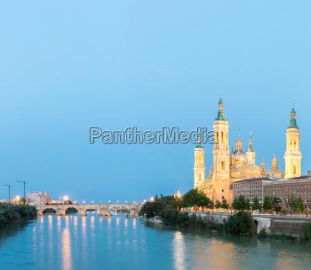 zaragoza basilica spain panorama
