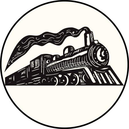 steam train locomotive coming up circle