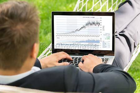 stock broker lying in hammock using