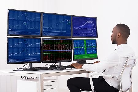 businessman analyzing data in office