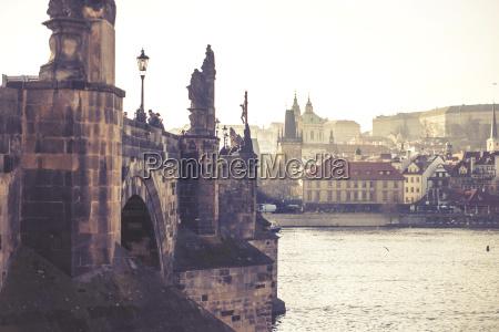 charles bridge czech republic vintage effect