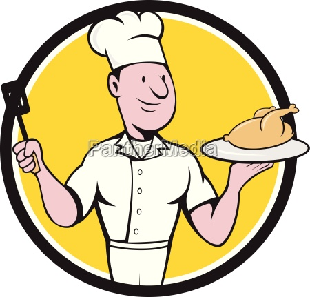 chef cook roast chicken spatula circle