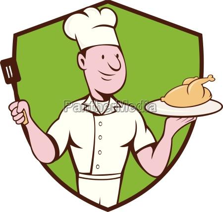 chef cook roast chicken spatula crest