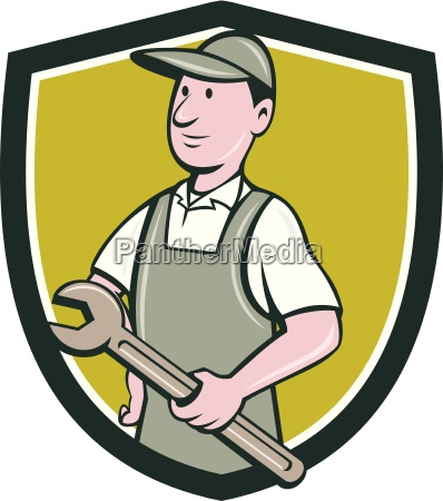 repairman holding spanner crest cartoon