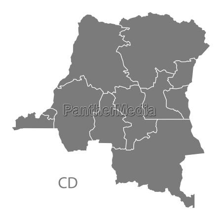 congo democratic republic provinces map grey