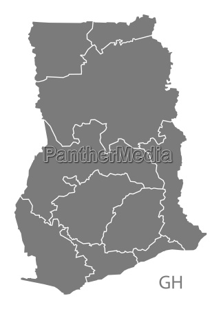 ghana regions map grey