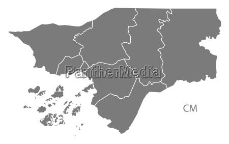 guinea bissau regions map grey