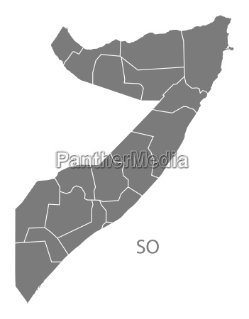 somalia regions map grey
