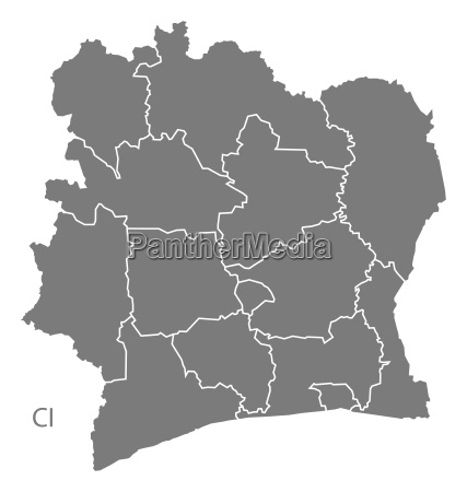 ivory coast districts map grey