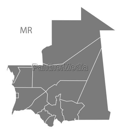 mauritania regions map grey
