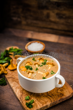 soup with chanterelles and parsley