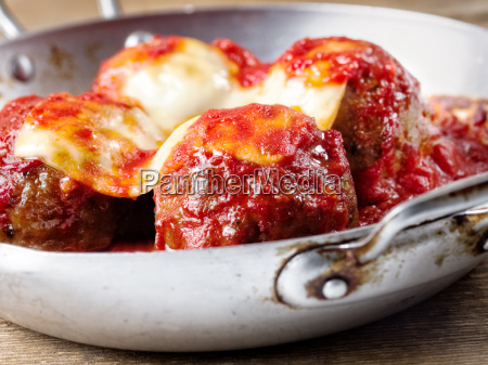 traditional classic italian meatball in tomato