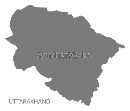 uttarakhand india map grey