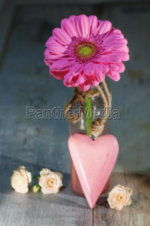 kwiat z rozowym sercem