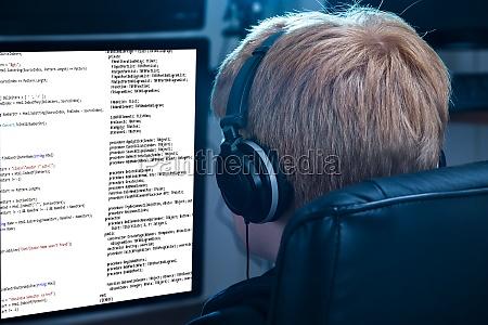 boy working on computer