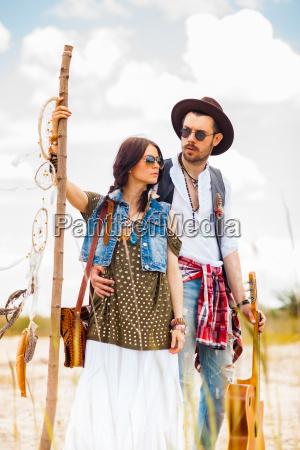 man and woman as boho hipsters
