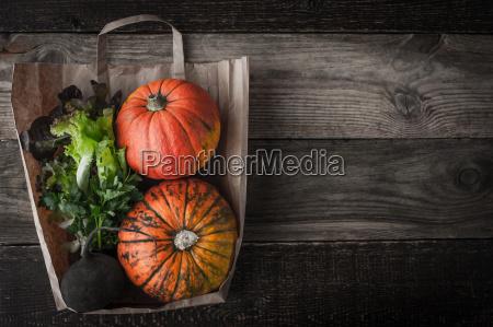pumpkins turnip and greens inside