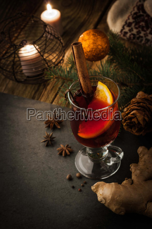mulled wine with spices and christmas