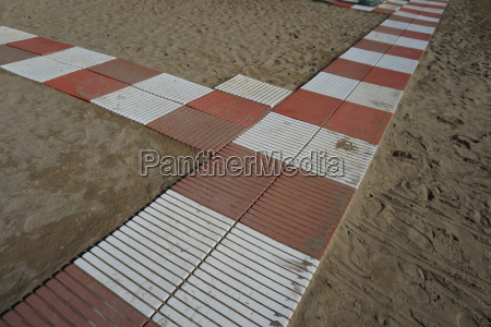 beach beach caorle adriatic path umbrella