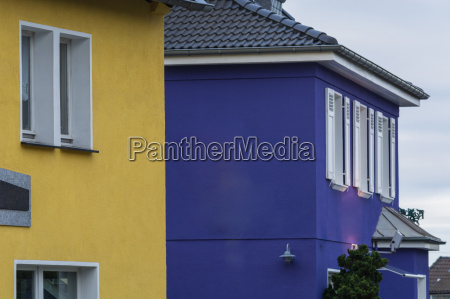 house fronts with fresh wall paint