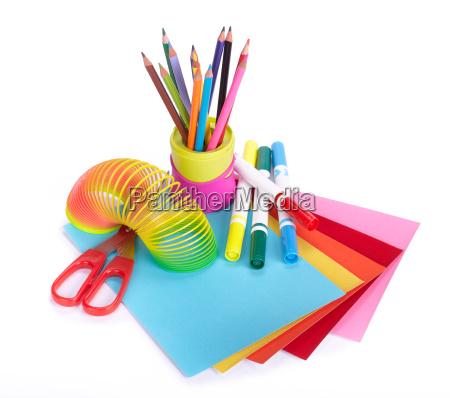 various school accessories to childrens creativity