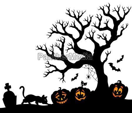 halloween tree silhouette theme 1