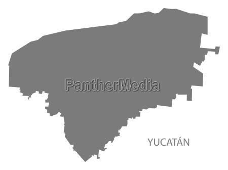 yucatan mexico map grey